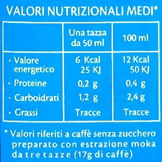 valor nutricional cafe descafeinado Lavazza