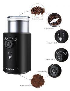 molinillo de café con detalles de funciones de moler, oferta de molienda, oferta molinillo, molino electrico, moledora de cafe